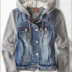 American eagle denim jacket hoodie